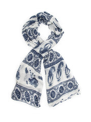 Scarves - Gaja Shawl, Paisley Indian Elephant Print Scarf, Shawl, Beach Wrap -(White/Indigo / One Size) Bohomonde  - 5