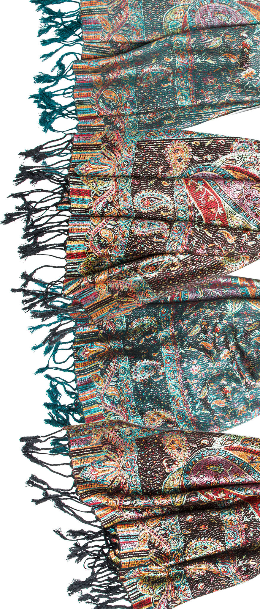 Scarves - Tiaja Scarf, Pashmina Indian Paisley Traditional Jacquard Scarf - hand made in India -() Bohomonde  - 5