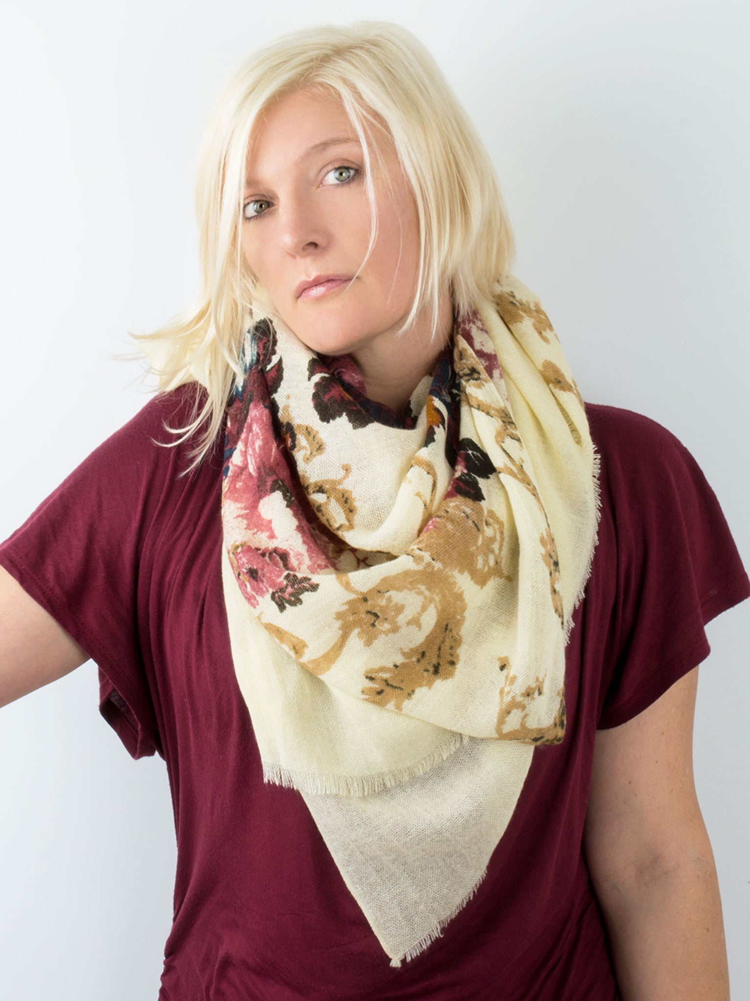 Scarves - Eleanor blanket scarf, oversized winter scarf, floral scarf -() Bohomonde  - 17