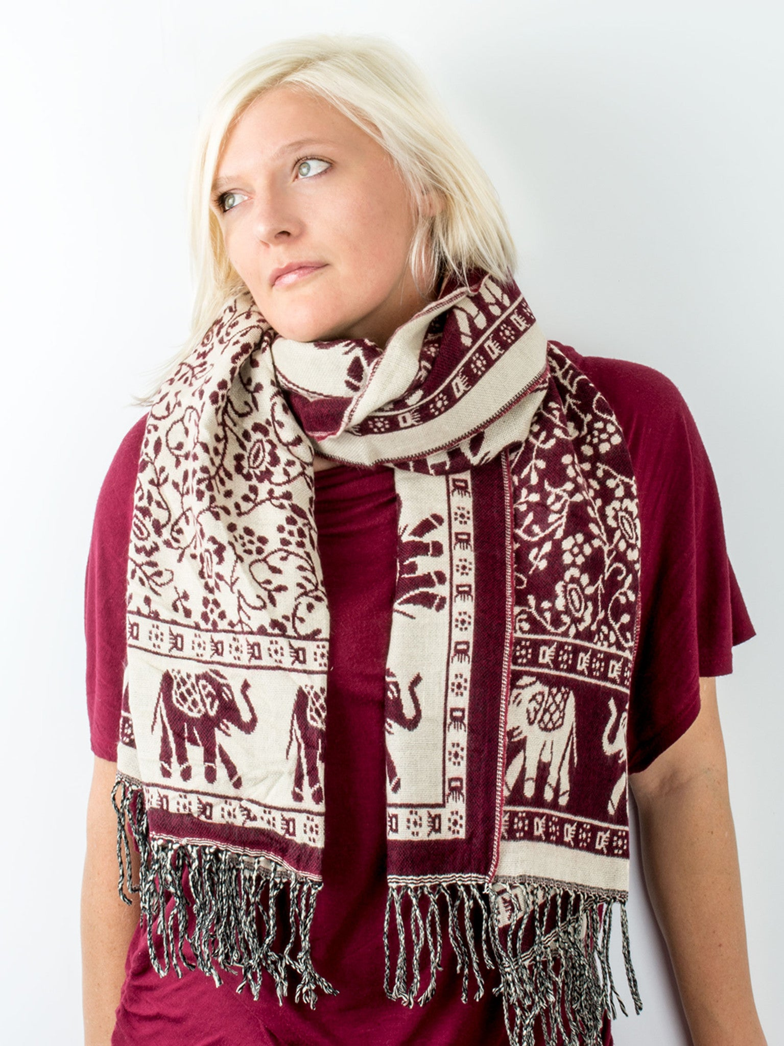 Scarves - Hathi Winter Blanket Scarf, Woven Indian Elephant Design -() Bohomonde  - 5