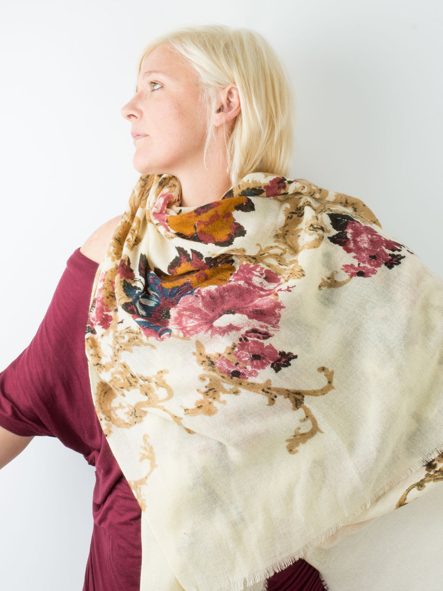 Scarves - Eleanor blanket scarf, oversized winter scarf, floral scarf -() Bohomonde  - 20
