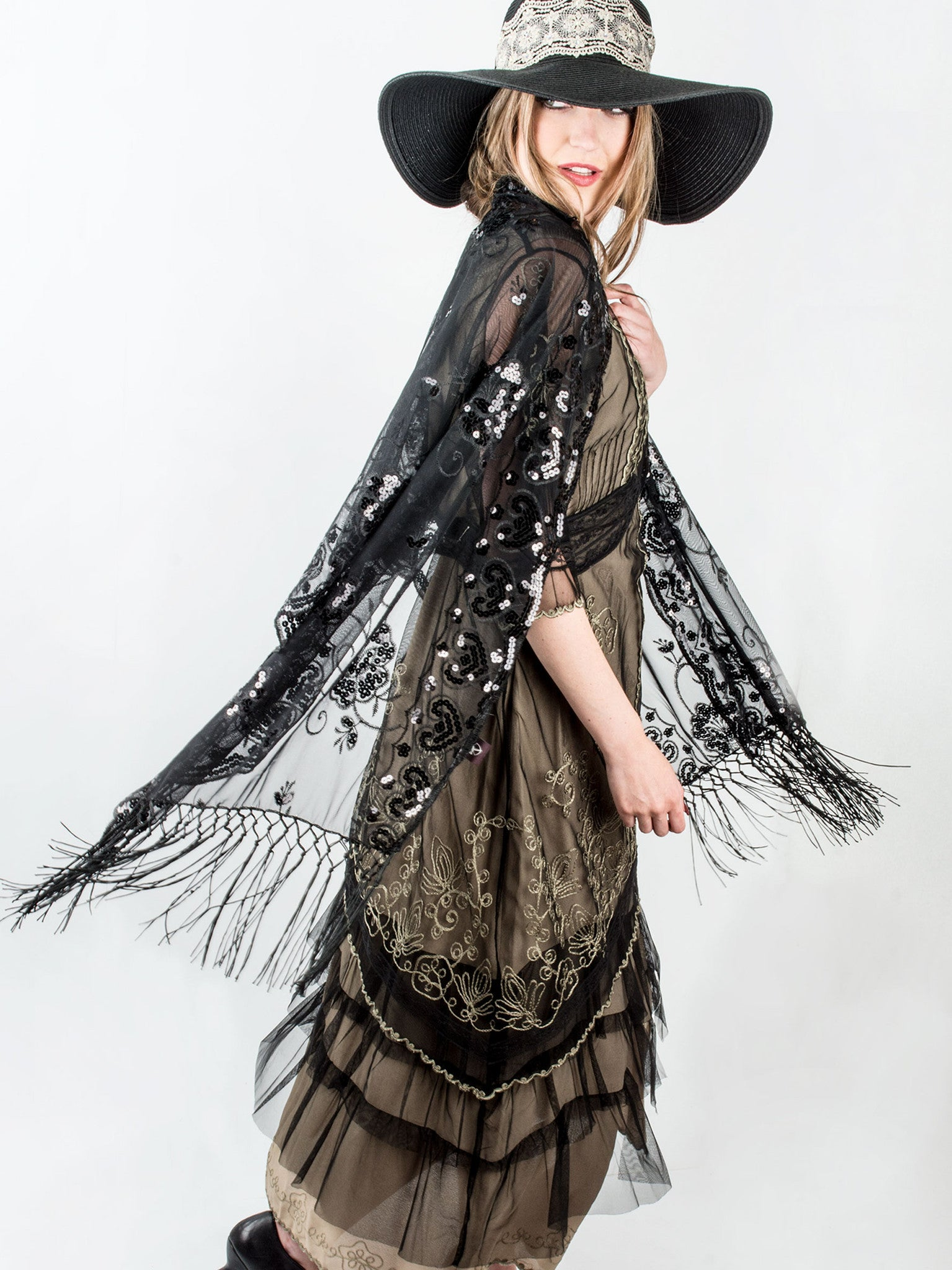Scarves - Madison Shawl, Long Fringe Sequin Evening Wrap -() Bohomonde  - 2