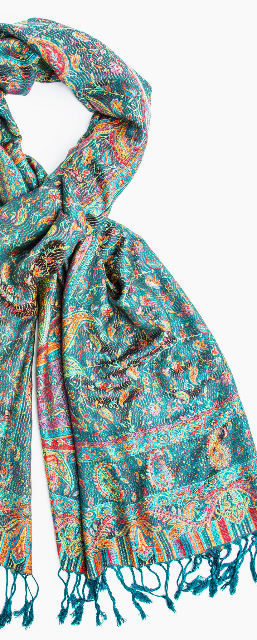 Scarves - Tiaja Scarf, Pashmina Indian Paisley Traditional Jacquard Scarf - hand made in India -() Bohomonde  - 6