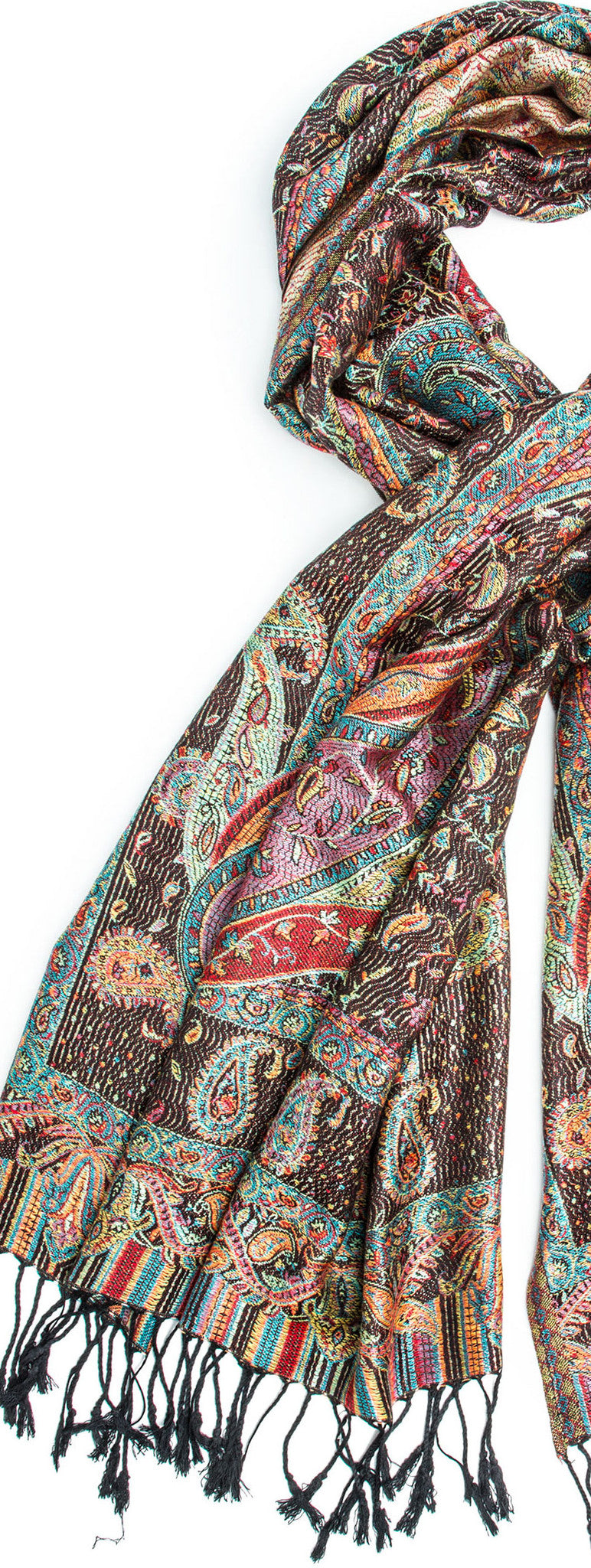 Scarves - Tiaja Scarf, Pashmina Indian Paisley Traditional Jacquard Scarf - hand made in India -() Bohomonde  - 7