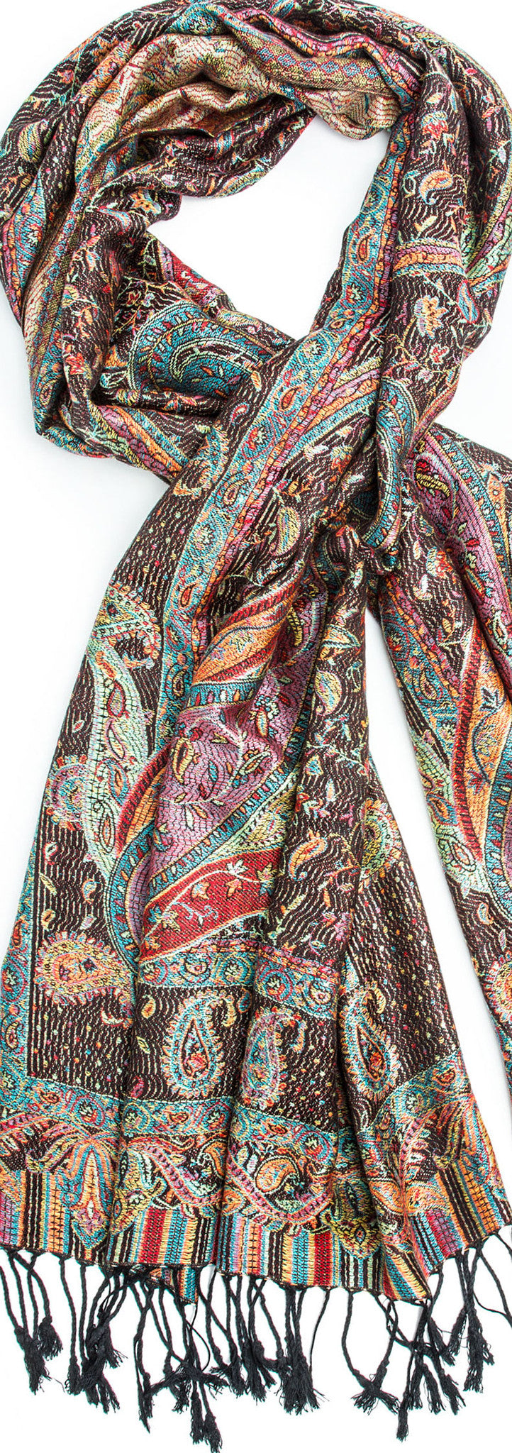 Scarves - Tiaja Scarf, Pashmina Indian Paisley Traditional Jacquard Scarf - hand made in India -() Bohomonde  - 8