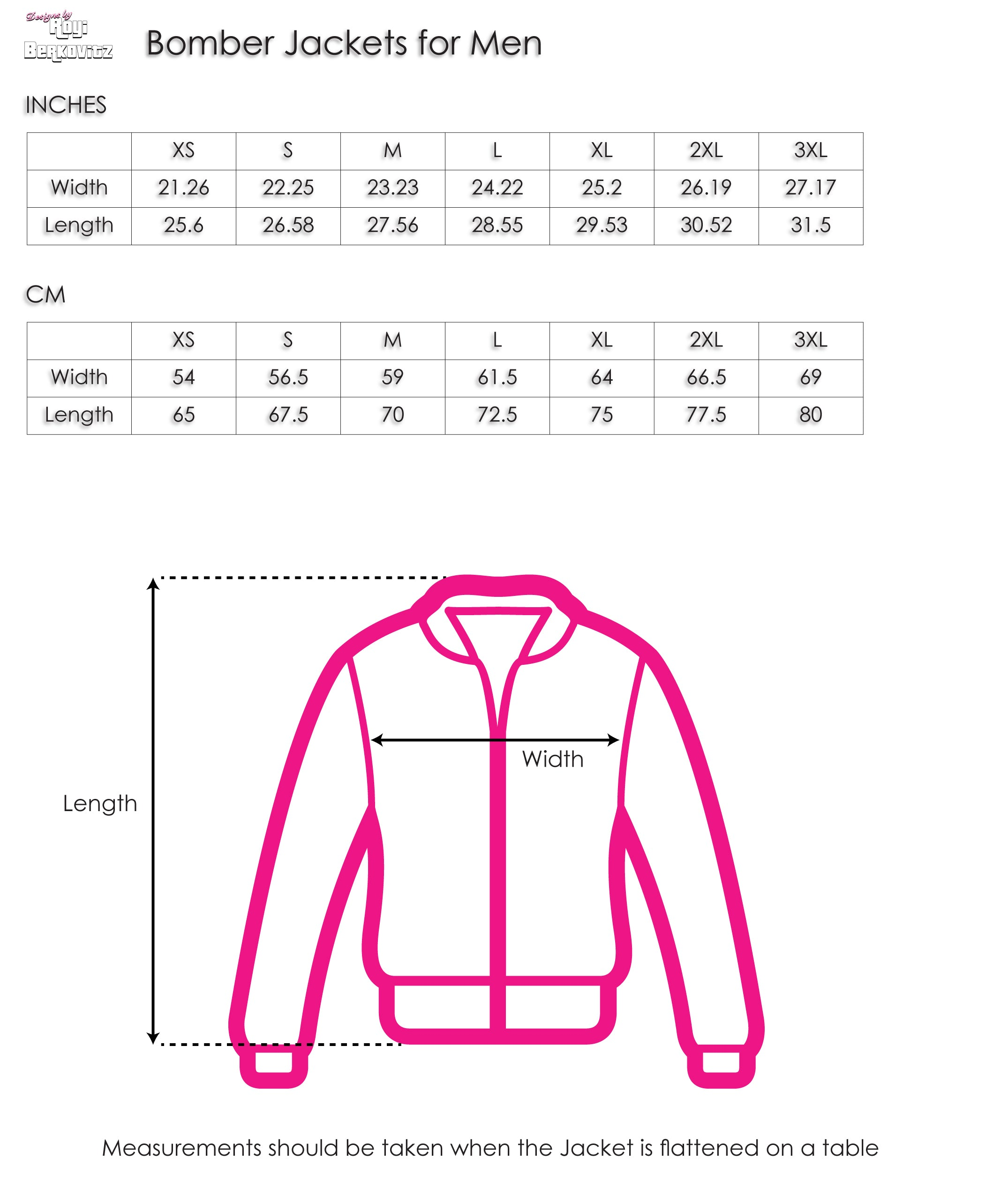 Bomber Jackets for Men | Size Chart | Designs by Royi Berkovitz