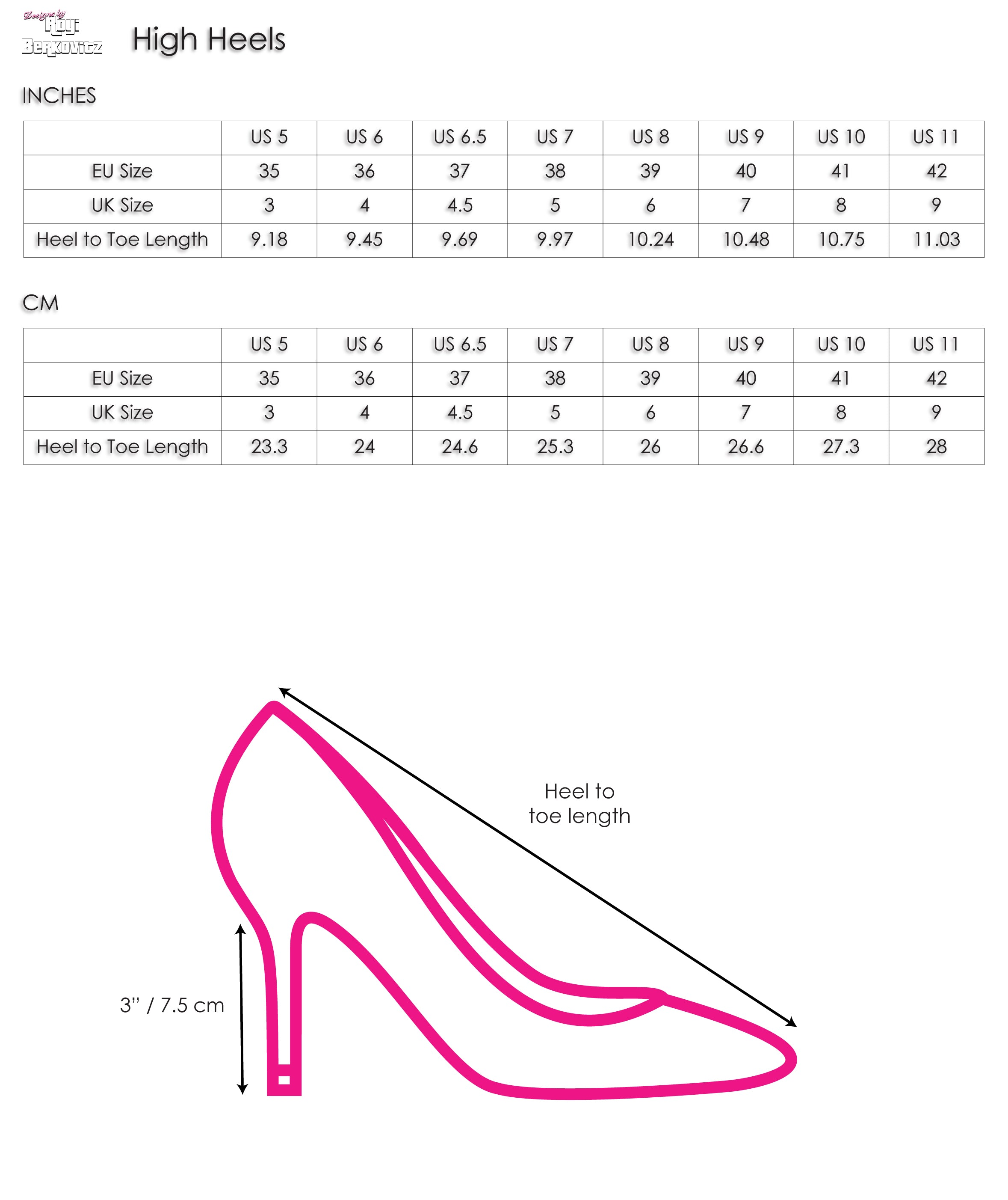 High Heels | Size Chart | Designs by Royi Berkovitz
