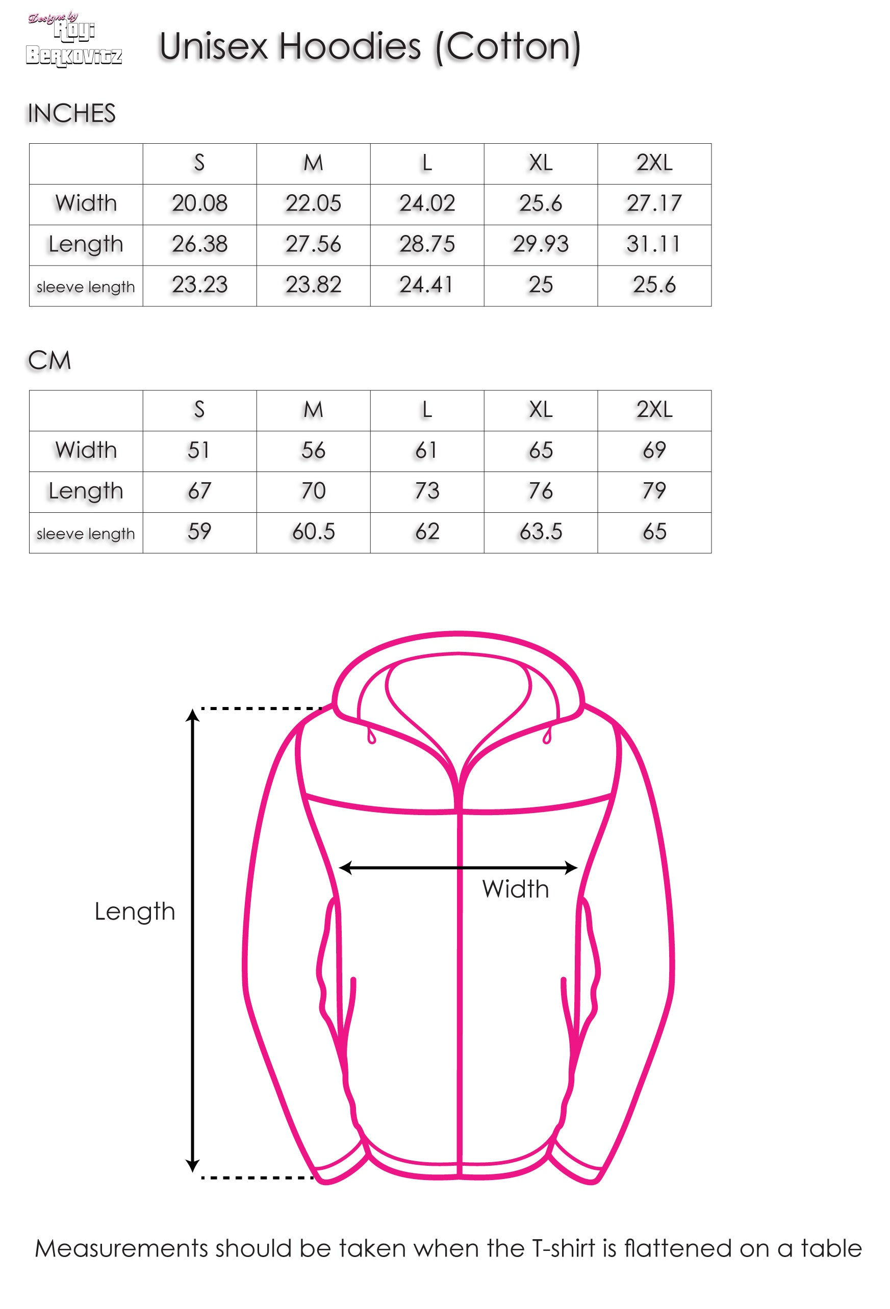 Unisex Hoodies | 100% Cotton | Size Chart | Designs by Royi Berkovitz