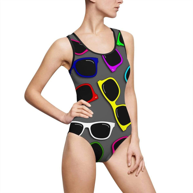 """Sunglasses in Color"" Custom One-Piece Swimsuit - Awesome, custom designed T-shirts & Art  