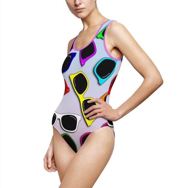 """Sunglasses in Color - Special Edition"" Custom One-Piece Swimsuit - Awesome, custom designed T-shirts & Art  
