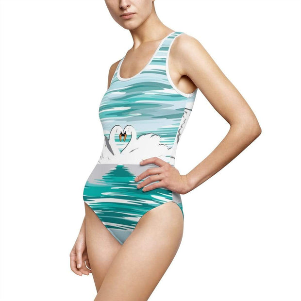 """Swan Love"" Custom One-Piece Swimsuit - Designs by Royi .B."