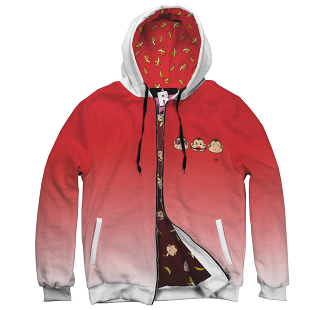 """The 3 Monkeys - Red"" Custom Designed Hoodie - Awesome, custom designed T-shirts & Art  