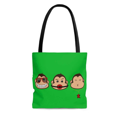 """The 3 Monkeys - Green"" Custom Tote Bag - Awesome, custom designed T-shirts & Art  