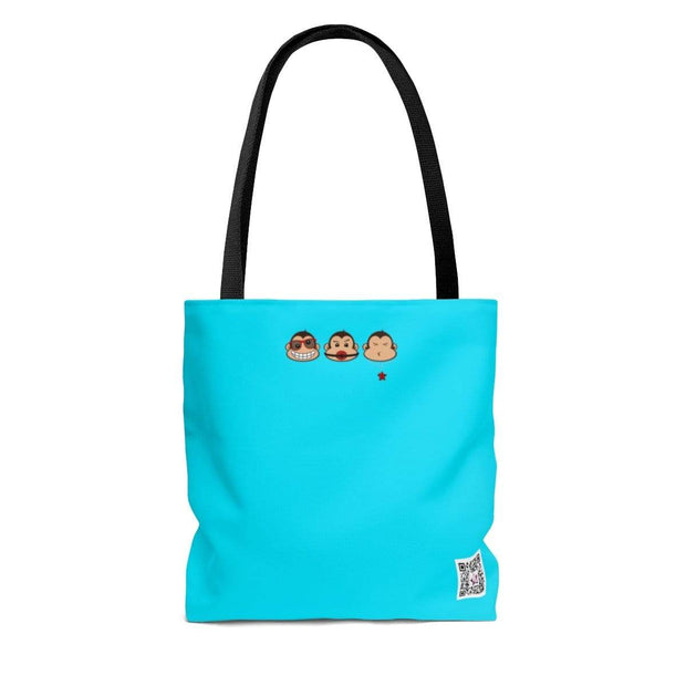 """The 3 Monkeys - Blue"" Custom Tote Bag - Designs by Royi .B."