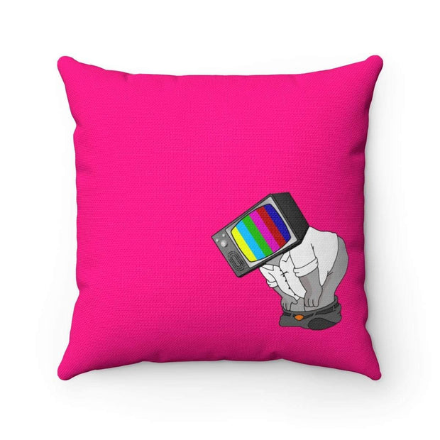 """Fart on TV"" Pink Pillow - Designs by Royi .B."
