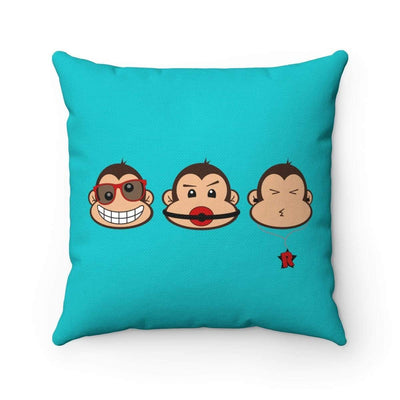 """The 3 Monkeys"" Blue Pillow - Awesome, custom designed T-shirts & Art  