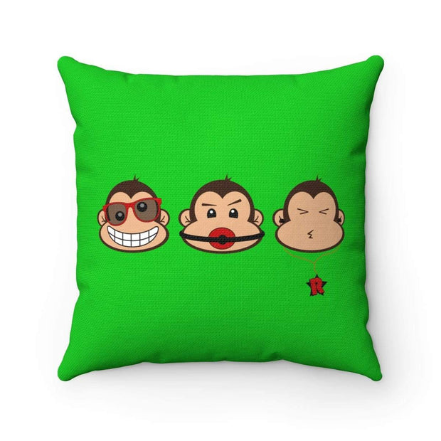 """The 3 Monkeys"" Green Pillow - Awesome, custom designed T-shirts & Art  