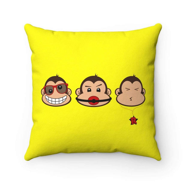 """The 3 Monkeys"" Yellow Pillow - Awesome, custom designed T-shirts & Art  