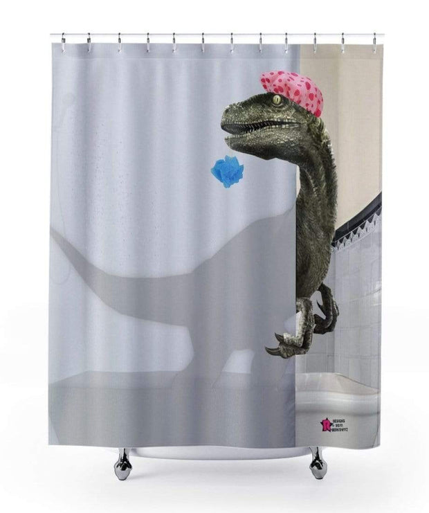 """Velociraptor"" Shower Curtain - Awesome, custom designed T-shirts & Art  
