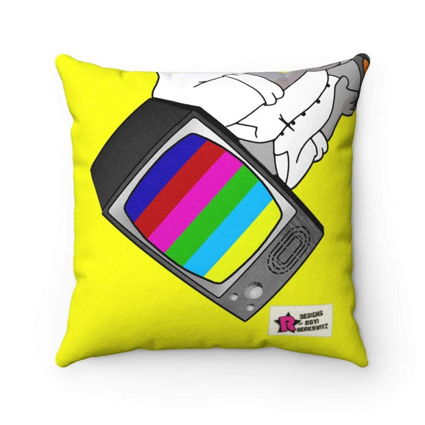 """Fart on TV"" Yellow Pillow - Awesome, custom designed T-shirts & Art  