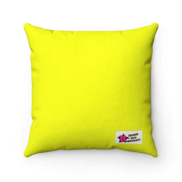 """The Stylist Cat"" Yellow Pillow - Designs by Royi .B."