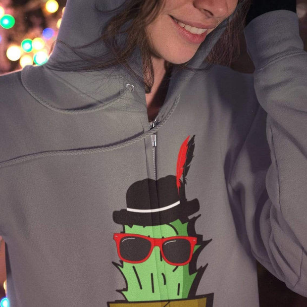 """Cactus #3"" Unisex Zip Hoodie - Awesome, custom designed T-shirts & Art  