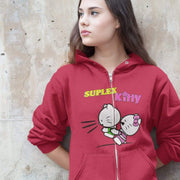"""Suplex Kitty"" Unisex Zip Hoodie - Awesome, custom designed T-shirts & Art  