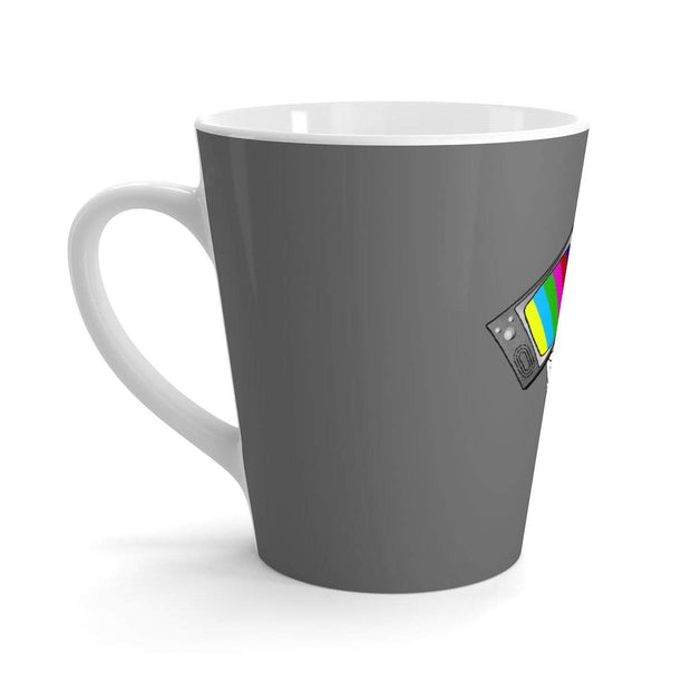 """Fart on TV"" Grey Latte mug - Designs by Royi .B."