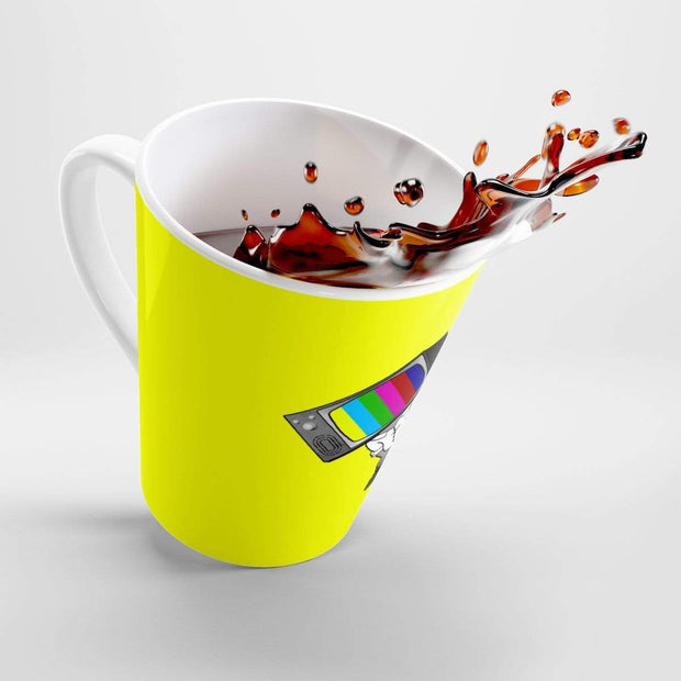 """Fart on TV"" Yellow Latte mug - Designs by Royi .B."