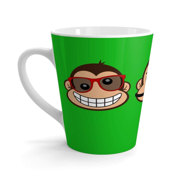 """The 3 Monkeys"" Green Latte mug - Designs by Royi .B."
