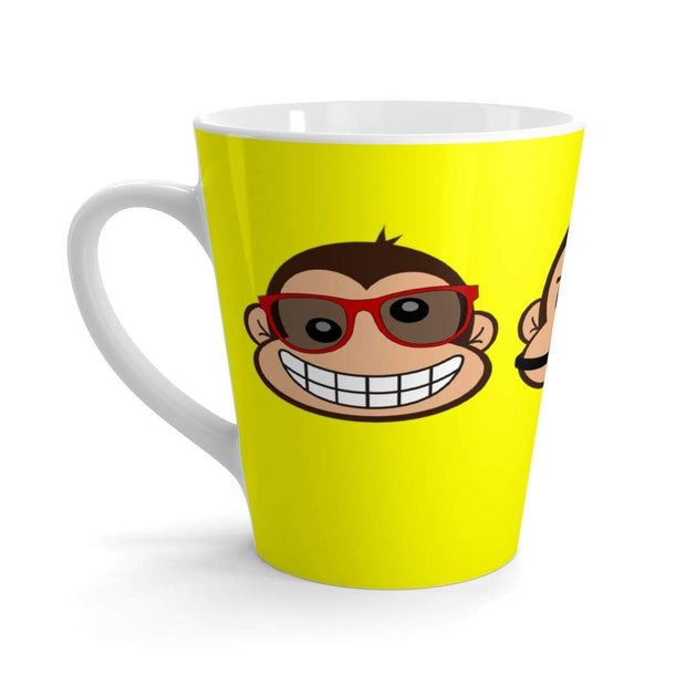"""The 3 Monkeys"" Yellow Latte mug - Awesome, custom designed T-shirts & Art  