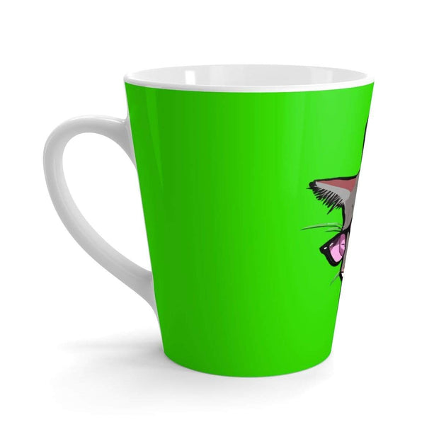 """The Stylish Cat"" Green Latte mug - Designs by Royi .B."