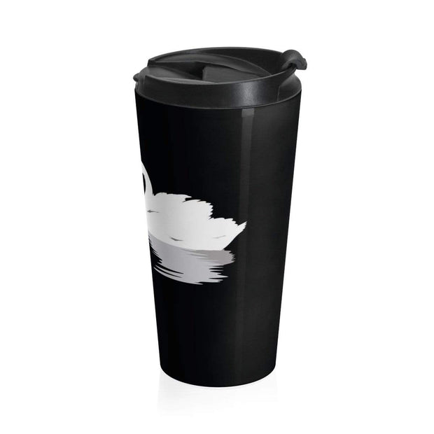 """Black Swan Love"" Stainless Steel Travel Mug - Designs by Royi .B."