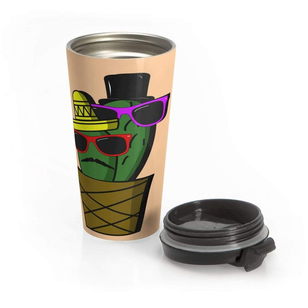 """Cactus #6"" Stainless Steel Travel Mug - Awesome, custom designed T-shirts & Art  