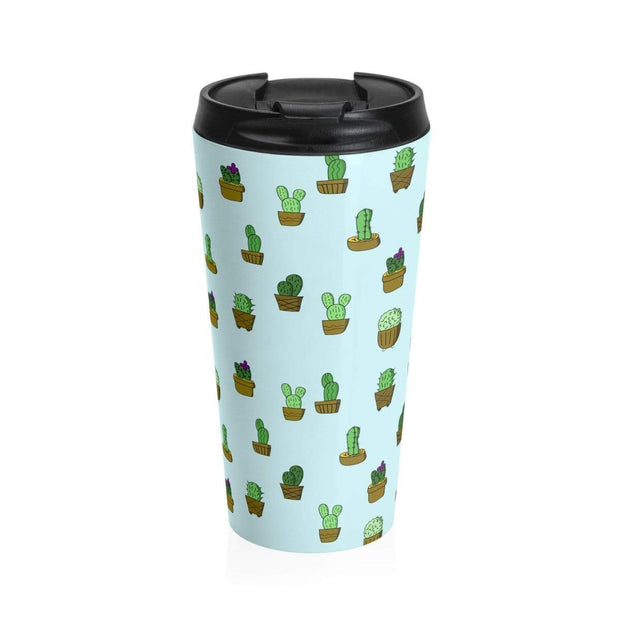 """Cactus"" Blue Stainless Steel Travel Mug - Awesome, custom designed T-shirts & Art  