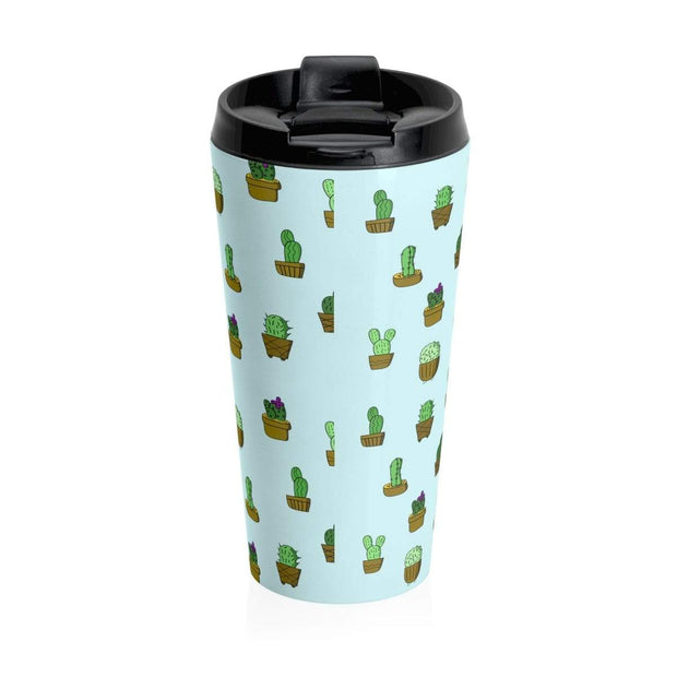 """Cactus"" Blue Stainless Steel Travel Mug - Designs by Royi .B."