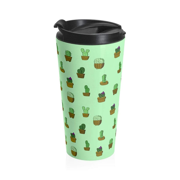 """Cactus"" Green Stainless Steel Travel Mug - Awesome, custom designed T-shirts & Art  