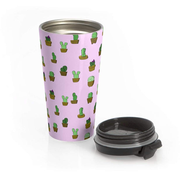 """Cactus"" Pink Stainless Steel Travel Mug - Awesome, custom designed T-shirts & Art  
