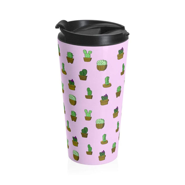 """Cactus"" Pink Stainless Steel Travel Mug - Designs by Royi .B."