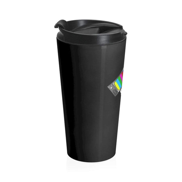 """Fart on TV"" Black Stainless Steel Travel Mug - Awesome, custom designed T-shirts & Art  
