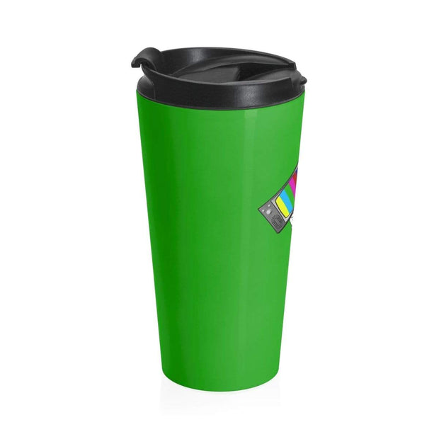 """Fart on TV"" Green Stainless Steel Travel Mug - Awesome, custom designed T-shirts & Art  