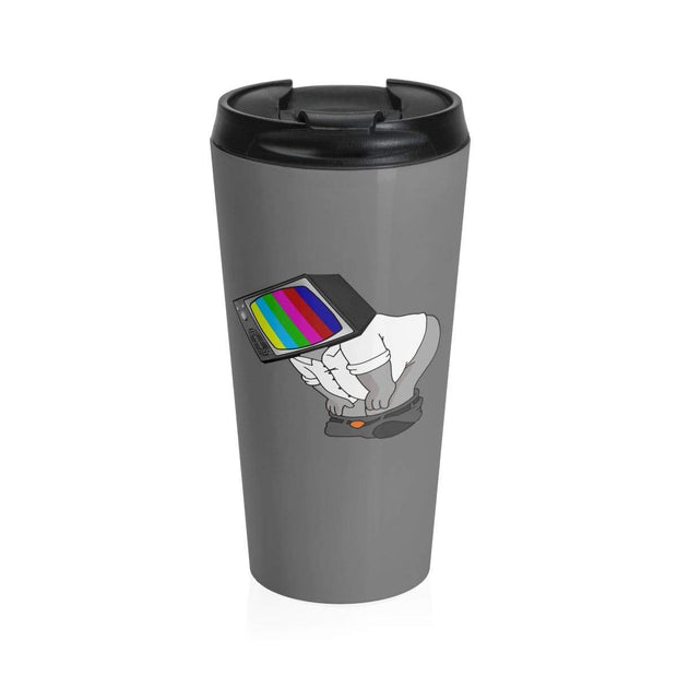 """Fart on TV"" Grey Stainless Steel Travel Mug - Awesome, custom designed T-shirts & Art  
