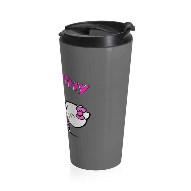 """Suplex Kitty"" Grey Stainless Steel Travel Mug - Awesome, custom designed T-shirts & Art  