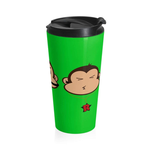 """The 3 Monkeys"" - Green Stainless Steel Travel Mug - Awesome, custom designed T-shirts & Art  