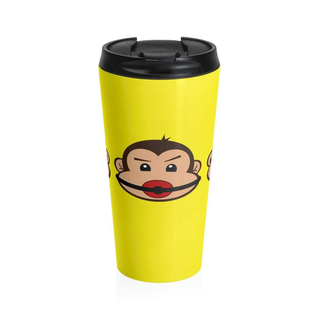 """The 3 Monkeys"" Yellow Stainless Steel Travel Mug - Designs by Royi .B."