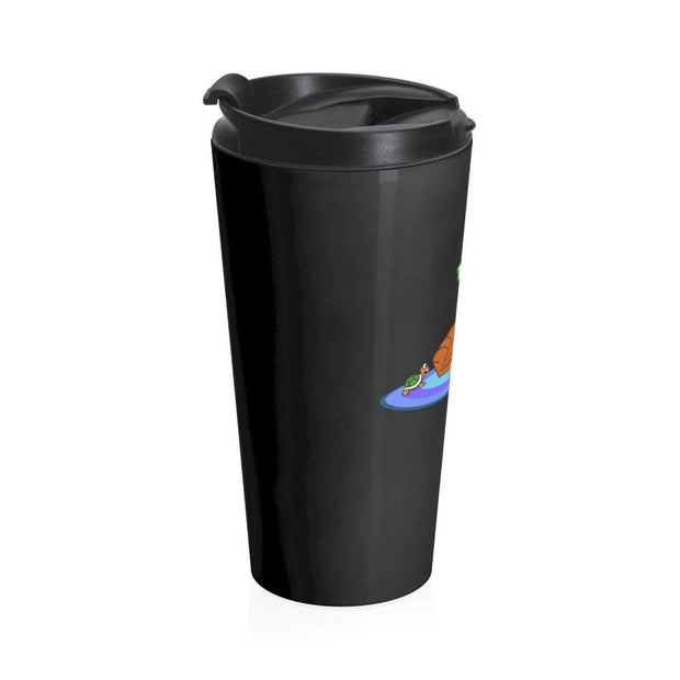 """The Happy Ending"" Black Stainless Steel Travel Mug - Awesome, custom designed T-shirts & Art  