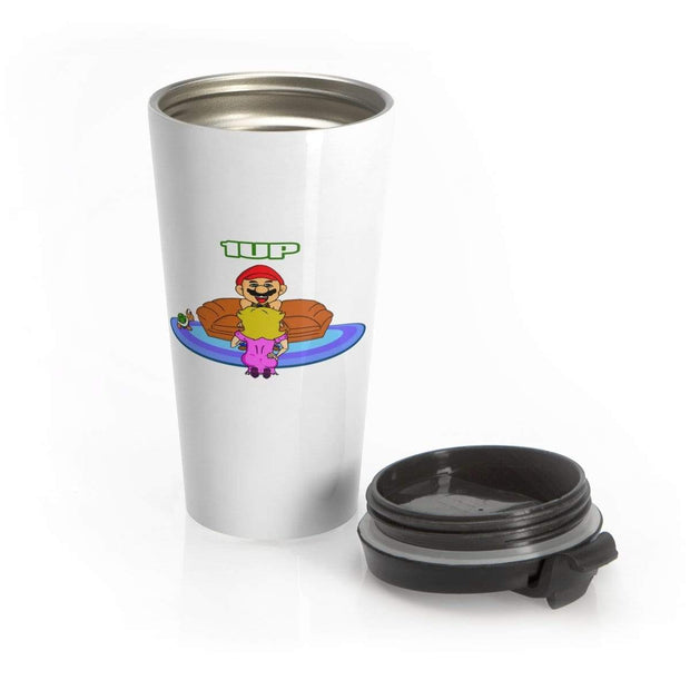"""The Happy Ending"" White Stainless Steel Travel Mug - Designs by Royi .B."