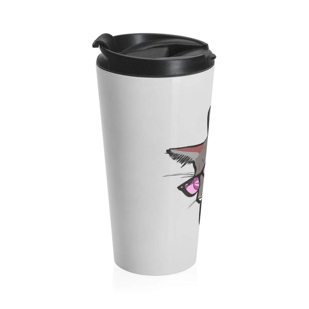 """The Stylist Cat"" Light Grey Stainless Steel Travel Mug - Designs by Royi .B."