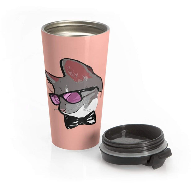 """The Stylist Cat"" Pink Stainless Steel Travel Mug - Awesome, custom designed T-shirts & Art  