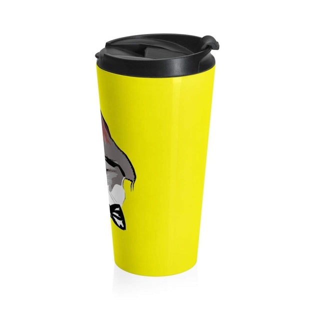"""The Stylist Cat"" Yellow Stainless Steel Travel Mug - Designs by Royi .B."